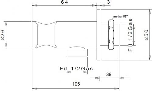 Sapho Vyústění pro baterie 1209-05 a 1209-09 k umístění na bok skříňky, chrom SG204