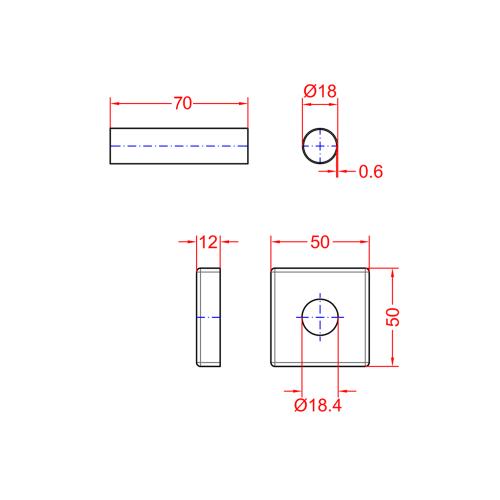 Sapho Set krycích rozet hranatých, chrom CP811
