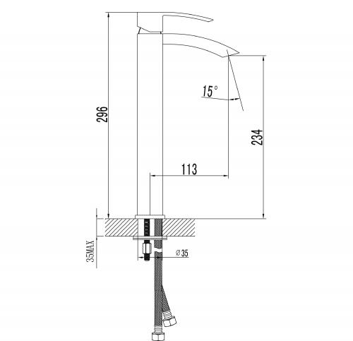 Sapho GINKO 25 stojánková umyvadlová baterie vysoká, bez výpusti, chrom 1101-04