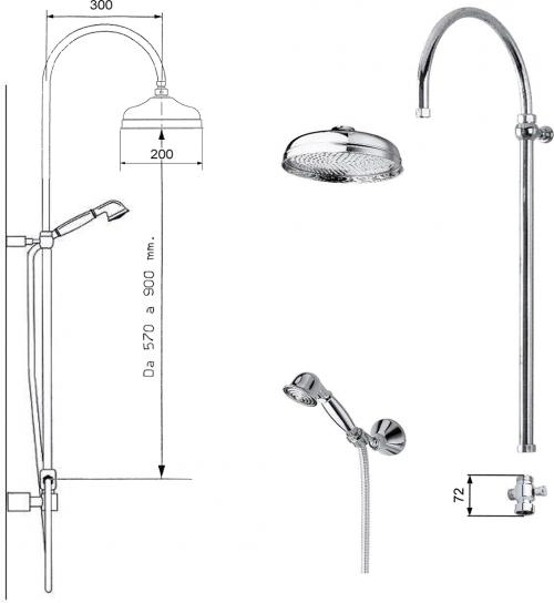 Reitano Rubinetteria ANTEA sprchový sloup k napojení na baterii, hlavová, ruční sprcha, bronz SET026