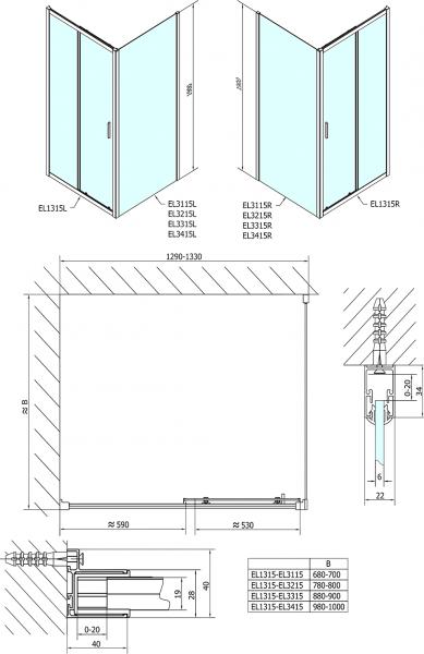 Polysan Easy Line obdélníkový sprchový kout 1300x800mm L/P varianta EL1315EL3215