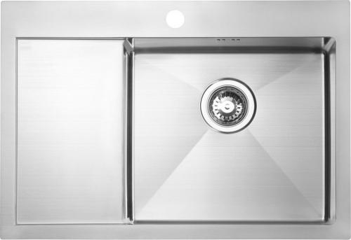 Sapho KIVA nerezový dřez s odkapem, 69x48x20 cm, provedení P EP531R