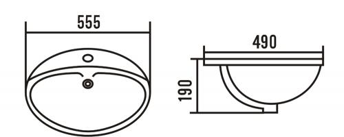 Aqualine Keramické umyvadlo 55x49 cm, zápustné 55481