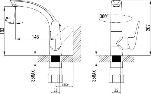 Sapho FLY umyvadlová baterie s otočnou hubicí, chrom DF004