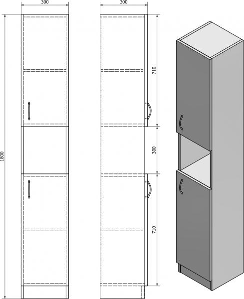 Aqualine SIMPLEX ECO vysoká skříňka 30x180x30cm SIME320