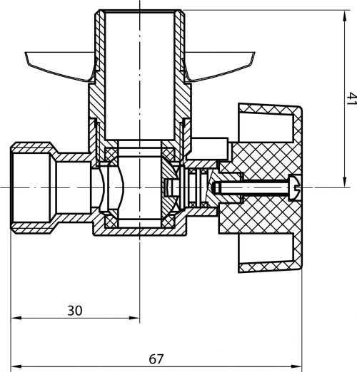 Aqualine Pračkový kulový ventil se zpětným ventilem 1/2'x3/4' - L, chrom 5310