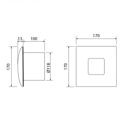 Cata SILENTIS 12 INOX koupelnový ventilátor axiální, 20W, potrubí 120mm, nerez 01080300