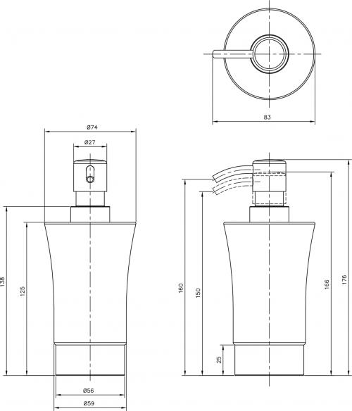 Sapho JUSTY dávkovač mýdla na postavení, keramika/nerez 1308-31