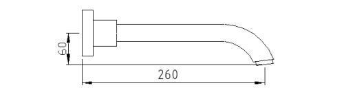 Sapho Nástěnná výtoková hubice, 260mm, chrom CR260CRO