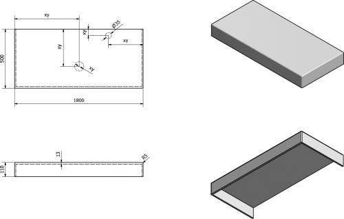 Sapho TAILOR rockstone deska 180x50 cm, provedení límce C TR180C