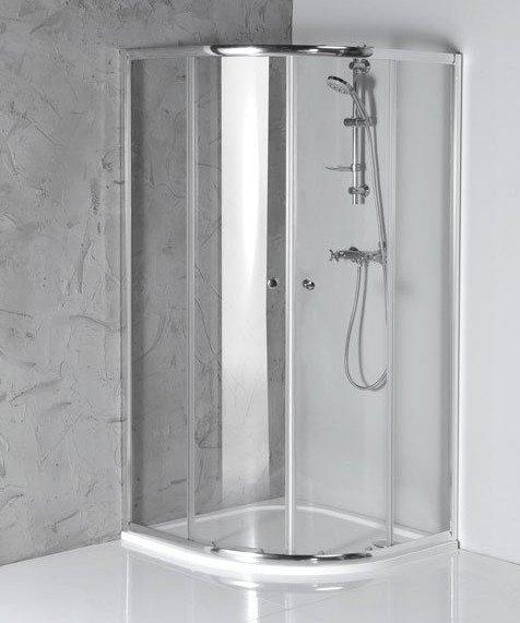 Aqualine ARLETA čtvrtkruhová sprchová zástěna 900x900mm, čiré sklo HLS900