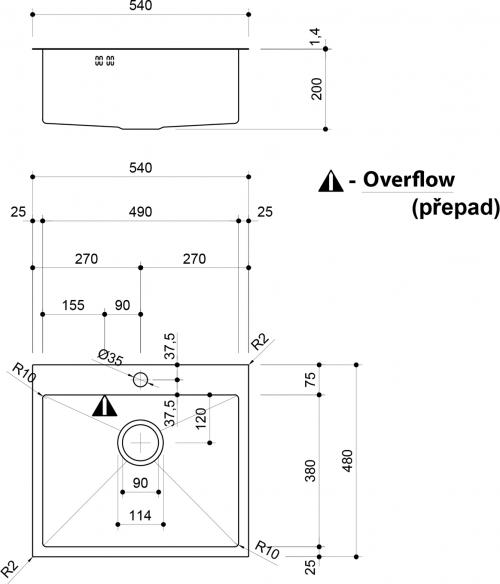 Sapho EPIC nerezový dřez s otvorem pro baterii, 54x48x20 cm EP487