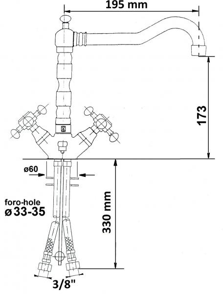 Reitano Rubinetteria ANTEA stojánková umyvadlová baterie s retro hubicí s výpustí, chrom 3371