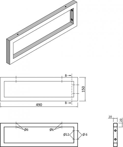 Sapho Podpěrná konzole 490x150x20mm, lakovaná ocel, černá mat, 1 ks 30360