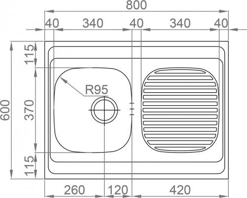 Nerezový dřez Sinks CLP-A 800 M 0,5mm matný MP68172