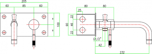 Sapho RHAPSODY podomítková vanová baterie, délka hubice 232mm, chrom 5578