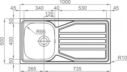 Nerezový dřez Sinks OKIO 1000 XL V 0,6mm MP68189