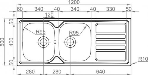 Nerezový dřez Sinks OKIO 1200 DUO V 0,7mm MP68193
