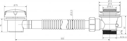 Aqualine Vanová souprava s ovládacím bovdenem, bez sifonu, mosaz/chrom TY1002