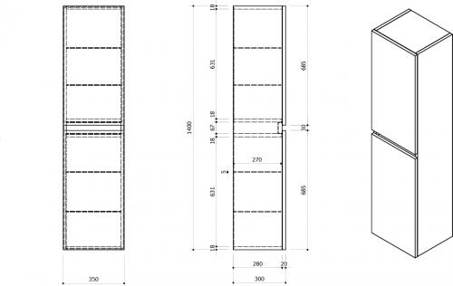 Sapho Skříňka vysoká 35x140x30cm, levá/pravá, dub benátský LA454LP