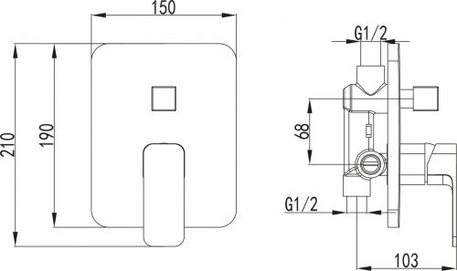 Aqualine FACTOR podomítková sprchová baterie, 2 výstupy, chrom FC642