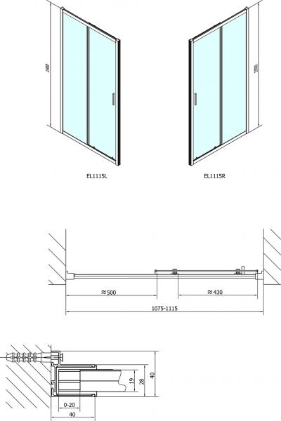 Polysan EASY LINE sprchové dveře 1100mm, čiré sklo EL1115