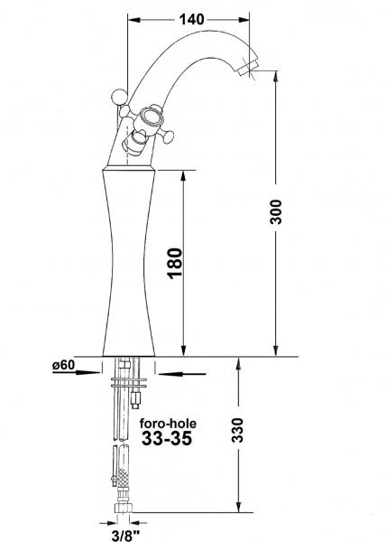 Reitano Rubinetteria ANTEA stojánková umyvadlová baterie vysoká s výpustí, výška 300mm, růžové zlato 3277L