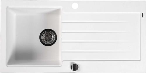 Sapho Dřez granitový vestavný s odkapávací plochou, 86x43, 5 cm, bílá GR1601