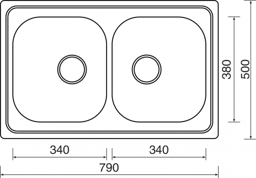 Nerezový dřez Sinks CLASSIC 790 DUO V 0,6mm matný MP68297
