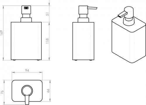 Gedy ARIES dávkovač mýdla na postavení, antracit AR8085