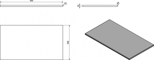 Sapho OLIVER deska 90x2x50cm, technický mramor, Botticino OV090-1216