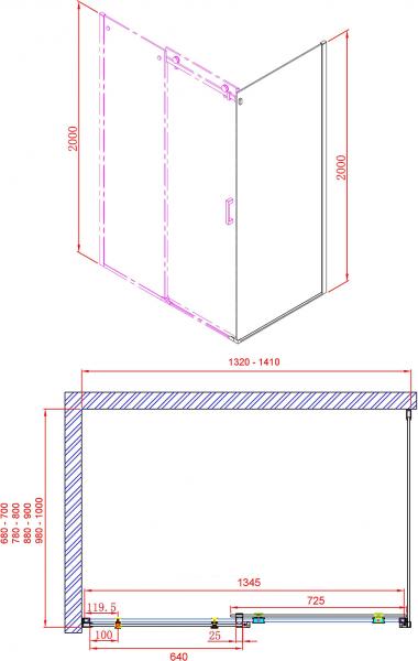 Gelco DRAGON sprchové dveře 1400mm, čiré sklo GD4614