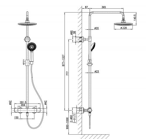 Sapho KIMURA sprchový sloup s termostatickou baterií, chrom KU322