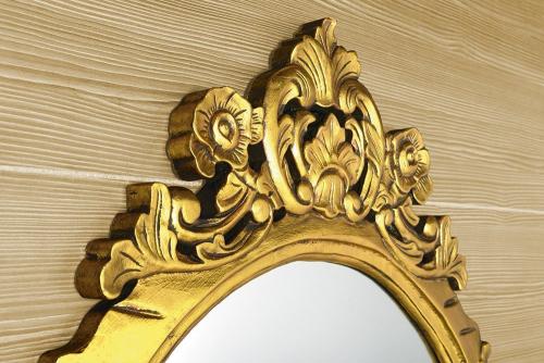 Sapho DESNA oválné zrcadlo v rámu, 80x100cm, zlatá IN352