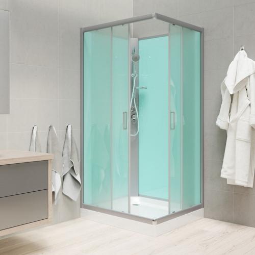 Mereo Sprchový box, čtvercový, 90cm, satin ALU, sklo Point, zadní stěny zelené, SMC vanička, bez stříšky CK34122B