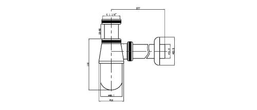 Aqualine Umyvadlový sifon 1'1/4, odpad 32mm, nízký, chrom CV1006