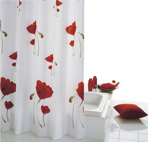 Sapho MOHN sprchový závěs 180x200cm, polyester, červenobílá 47800