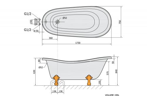 Polysan RETRO volně stojící vana 173x75x84cm, nohy chrom mat, černá/bílá 72964