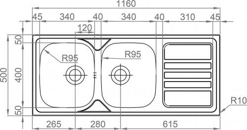 Nerezový dřez Sinks OKIO 1160 DUO V 0,6mm matný RDOKM11650026V