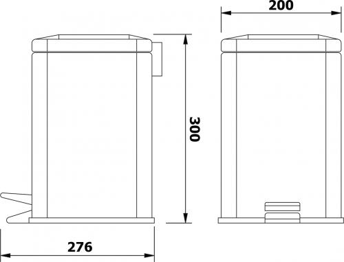 Aqualine SIMPLE LINE odpadkový koš hranatý 6l, leštěný nerez GAQ006