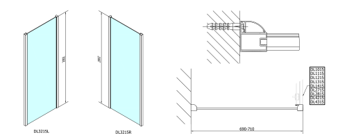 Polysan Lucis Line obdélníkový sprchový kout 1300x700mm L/P varianta DL1315DL3215