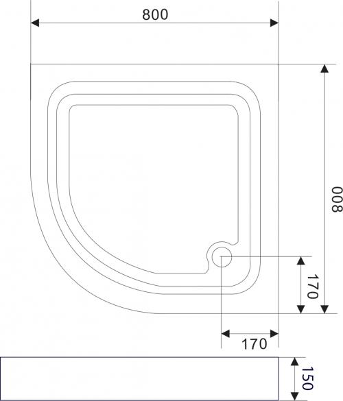 Aqualine Sprchová samonosná vanička akrylátová, čtvrtkruh 80x80x15 cm BTTR80