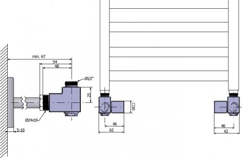 Sapho CUBE COMBI připojovací sada ventilů ruční rohová, pravá, chrom CP561