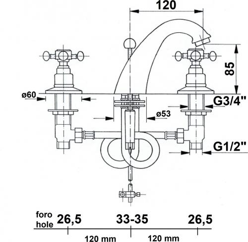 Reitano Rubinetteria ANTEA tříprvková umyvadlová baterie s výpustí, růžové zlato 3027