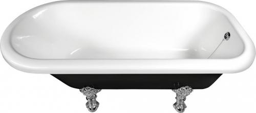 Polysan FOXTROT volně stojící vana 170x75x64cm, nohy chrom mat, černá/bílá 72961