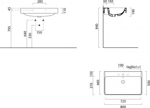 GSI SAND keramické umyvadlo 80x50 cm, bílá ExtraGlaze 9022111