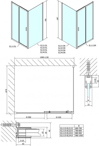 Polysan Easy Line obdélníkový sprchový kout 1100x1000mm L/P varianta EL1115EL3415