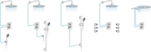 Aqualine KASIOPEA podomítková sprchová baterie, 2 výstupy, chrom 1107-42