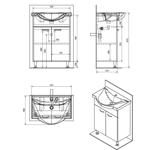 Aqualine KERAMIA FRESH umyvadlová skříňka 60, 60x74x33, 7cm, dub platin 50065
