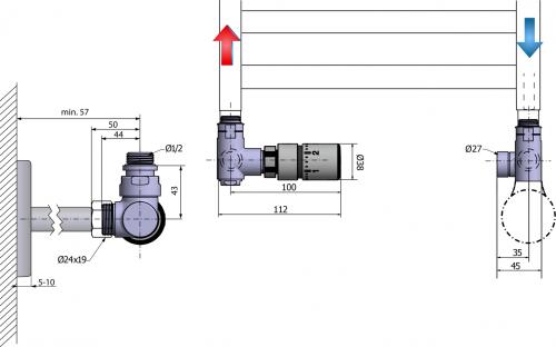 Sapho CORNER COMBI připojovací sada ventilů termostatická, levé, broušený nerez CP3521
